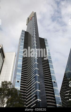 Looking upwards along the Eureka Tower a one of the world's tallest residential dwellings Melbourne Australia - Stock Photo