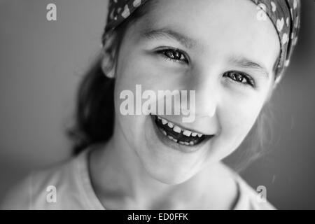 Portrait of smiling girl (4-5) - Stock Photo