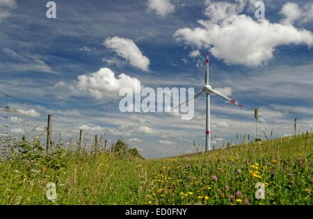 Germany, Ostfriesland, Wind turbine in meadow against cloudy sky - Stock Photo