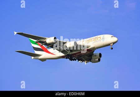 Emirates Airbus A380 landing at Heathrow Airport, London Borough of Hillingdon, Greater London, England, United - Stock Photo