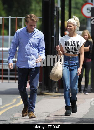 The cast of Eastenders leave Elstree studios on the way to lunch  Featuring: Sam Strike,Danielle Harold Where: London, - Stock Photo
