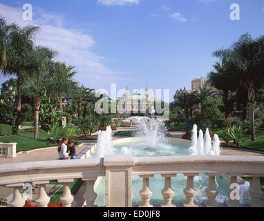 Monte Carlo Casino (Casino de Monte-Carlo) from Jardins de la Petite Afrique, Monte Carlo, Principality of Monaco - Stock Photo