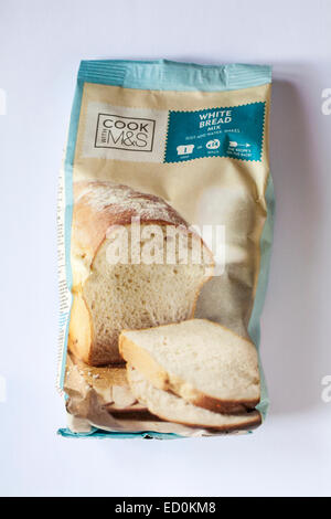 packet of Cook with M&S white bread mix isolated on white background - Stock Photo