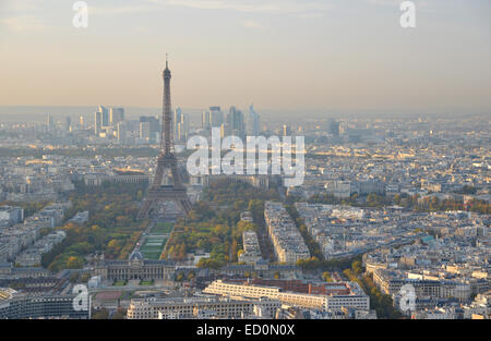 The Eiffel Tower and Paris city center at dusk, seen from the Montparnasse Tower - Stock Photo