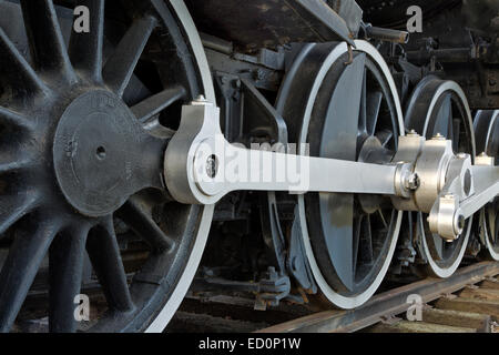 Drive wheels, 440 SooLine Steam Locomotive. - Stock Photo