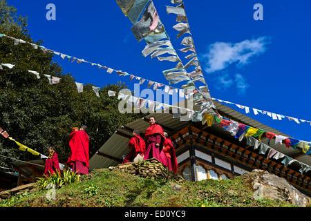 Students of the Tango Buddhist Institute, Tango Monastery, Bhutan - Stock Photo