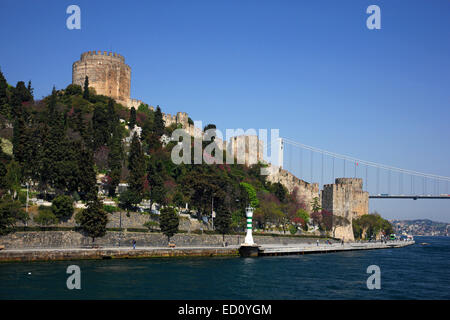 The Rumeli Hisari (fortress) on the narrowest point of Bosphorus, on the European side of Istanbul, Turkey. - Stock Photo