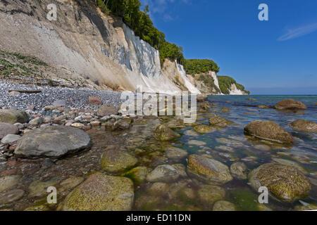 Steep coast with chalk cliffs in the Jasmund National Park, Rügen, Mecklenburg-Western Pomerania, Germany - Stock Photo