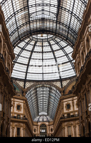 Roof details of the Galleria Vittorio Emanuele II shopping plaza in Milan - Stock Photo
