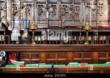 Songbooks in the King's College Chapel, Cambridge Cambridgeshire England United Kingdom UK - Stock Photo