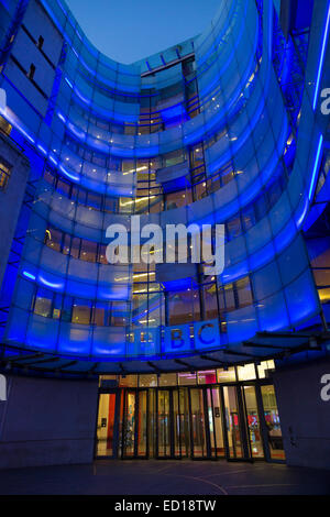 East Wing Extension of the BBC Broadcasting House in Portland Place at dusk, London, England, UK - Stock Photo