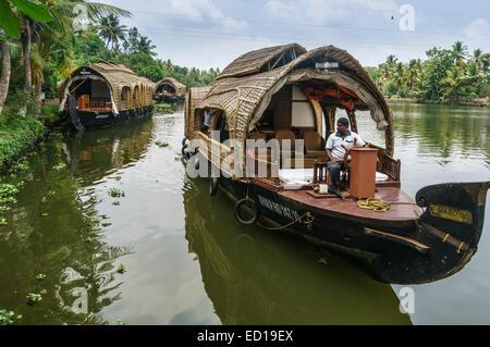Kerala, India - Nedumudy. Boarding for houseboat trips. - Stock Photo