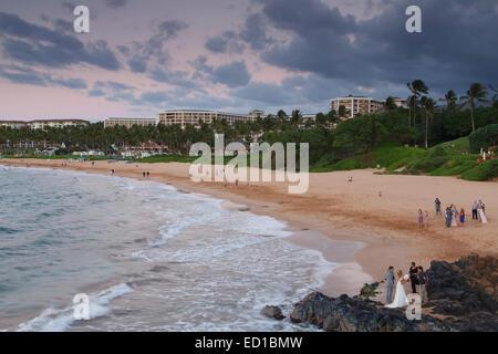 A wedding on Wailea Beach, Maui, Hawaii. - Stock Photo