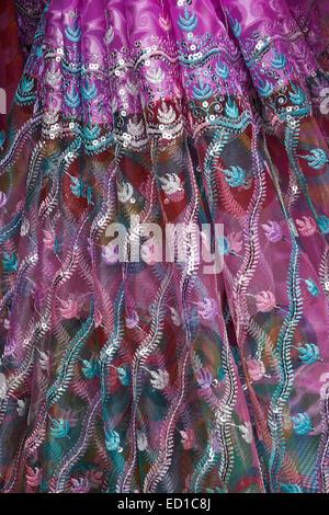 Beautiful sari fabric for sale in market, Gujarat, India - Stock Photo