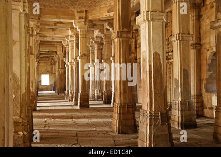 Interior of Jami Masjid (Grand Mosque), Champaner-Pavagadh Archaeological Park, Gujarat, India - Stock Photo