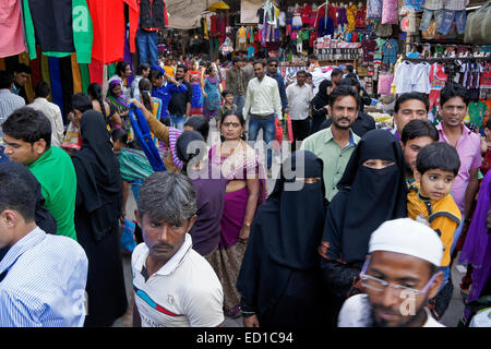 Crowded market in Old Ahmedabad, Gujarat, India - Stock Photo
