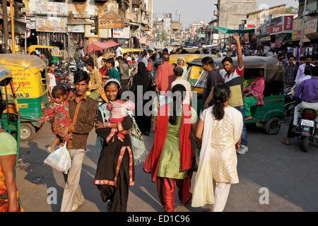 Crowded street in Old Ahmedabad, Gujarat, India - Stock Photo