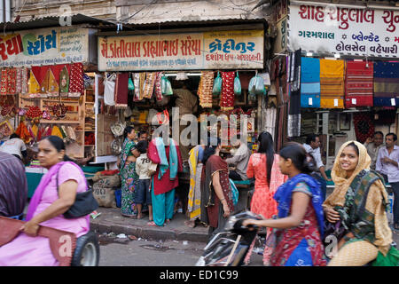 Crowded market area in Old Ahmedabad, Gujarat, India - Stock Photo
