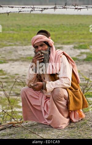 Sadhu (holy man) in India - Stock Photo