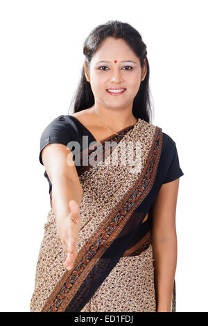 1 indian  Sales woman Shaking Hand - Stock Photo