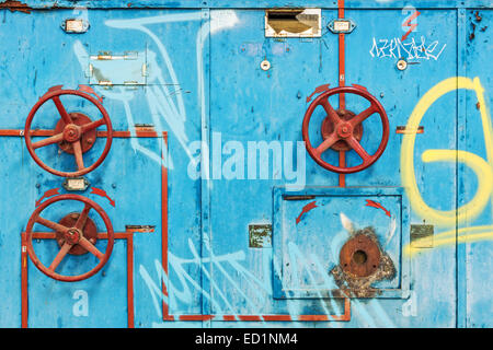 Dilapidated control cabinet in abandoned factory - Stock Photo