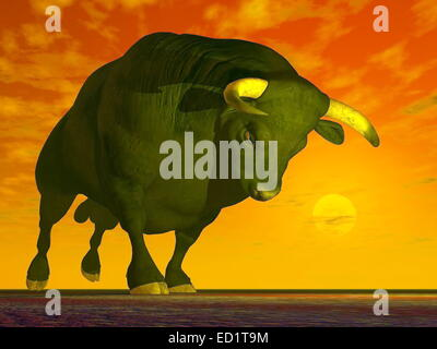 Big black agressive bull ready to charge by red sunset - Stock Photo