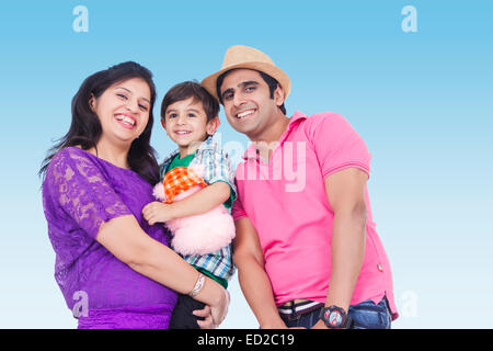 indian Parents with child park enjoy - Stock Photo