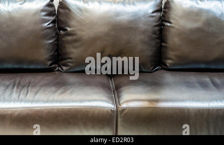 Leather sofa in the vintage living room. - Stock Photo