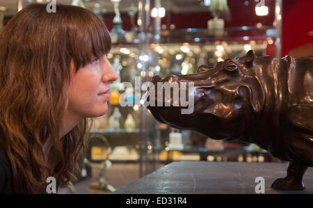 London, UK. 17 November 2014. Bronze sculpture of a Hippopotamus  by Jose-Maria David. Preview of the Bonhams Decorative - Stock Photo