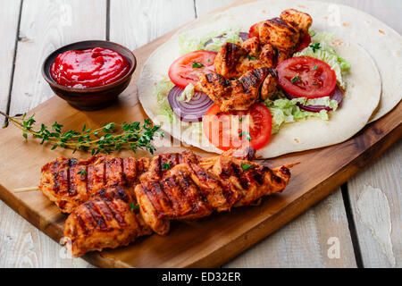 grilled chicken shawarma with sauce - Stock Photo