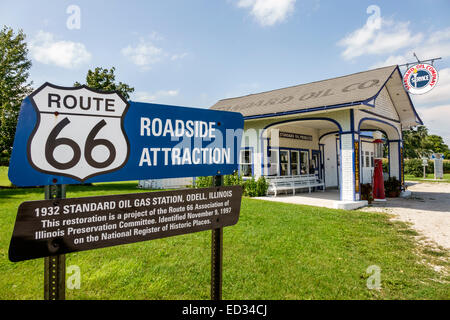 Illinois Odell Historic Route 66 1932 Standard Oil Gas Station petrol sign roadside information - Stock Photo
