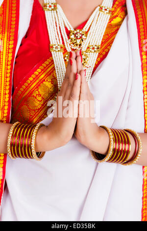 1 South  indian Housewife lady greeting - Stock Photo