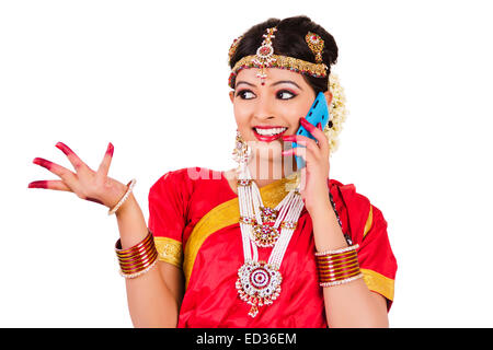 1 indian South Indian lady talking  phone - Stock Photo