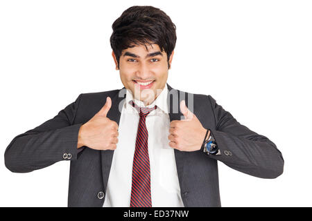 1 indian Business Man Thumbs Up showing Stock Photo