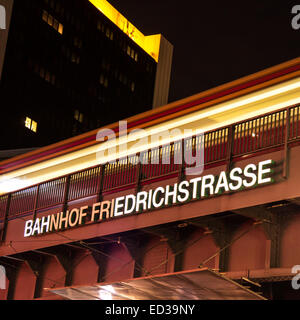 a train at the friedrichstraße station in berlin by night - Stock Photo