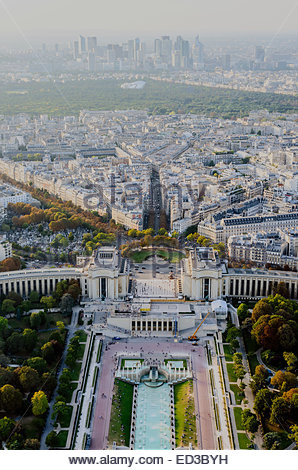 Aerial view of Trocadero and La Defense as seen from The Eiffel Tower. Paris, France - Stock Photo