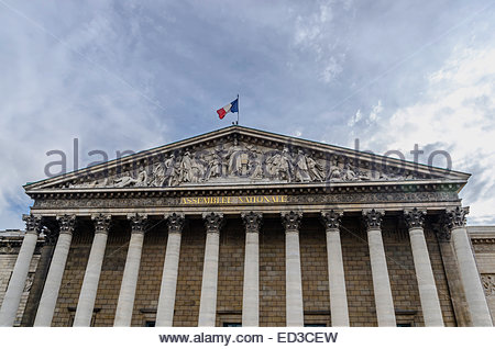 National assembly facade in the city of Paris, France. Asemblee Nationale - Stock Photo