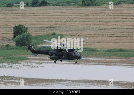 Bulgarian Air Force officers rescue tourists after heavy floods hit the Black Sea resort of Albena, east of the - Stock Photo