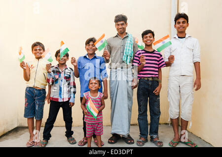 indian rural man and children  enjoy Independence Day - Stock Photo