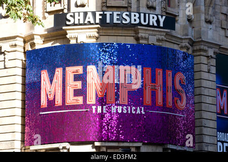 Theater poster in the west end London Memphis the musical - Stock Photo