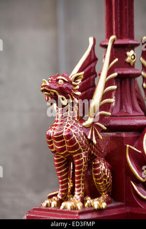 Red Dragons on Holborn Viaduct Bridge London - Stock Photo