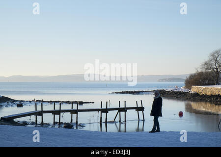 Man is walking along the shore at Oslo fjord in winter - Stock Photo