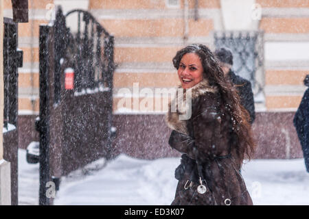 Moscow, Russia. 25th December, 2014. Weather: Heavy snowstorm in Moscow today. Cold and windy day, low temperature - Stock Photo