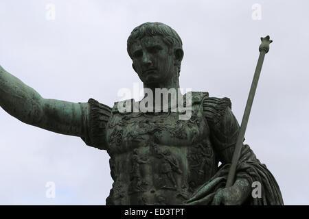 Bronze statue of emperor Augustus (63 BC-14AD). Forum Augustus. Rome. Italy. - Stock Photo