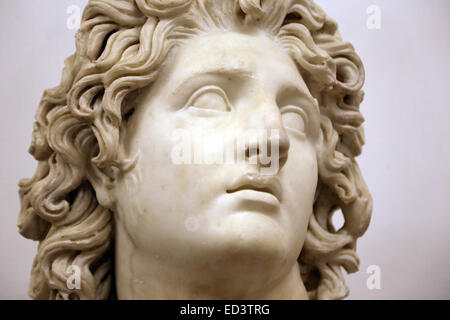 Alexander III the Great (-356-323). King of Macedonia (-336 to -323). Bust of Alexander-Helios. 3rd-2nd BC. Capitoline - Stock Photo