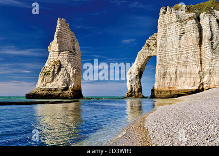France, Normandy: Rocks and arcs at Port l´Aval at the coast of Etretát - Stock Photo