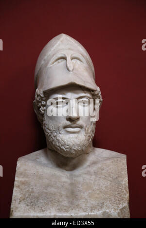 Pericles (495-495 BC). Greek statesman, orator and general of Athens during the Golden Age. Bust. Marble. Roman - Stock Photo