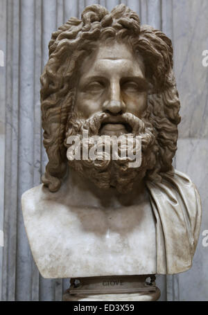 Head of Jupiter from Otricoli. Marble. Roman copy after a Greek original from the 4th century BC. Round Room. Vatican - Stock Photo