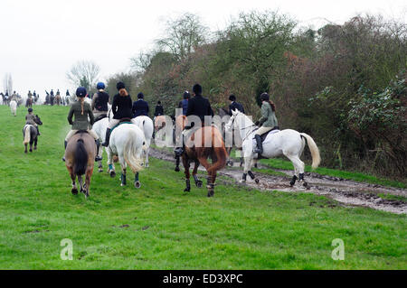 Car Colston, Nottinghamshire, UK.26th December 2014 . South Notts Hunt held their annual Boxing Day hunt in the - Stock Photo