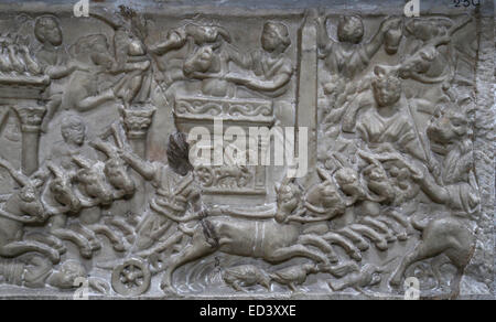 Roman art. Part of a front panel of a sarcophagus of a child with a chariot race in Circus Maximus. Marble. 130 - Stock Photo